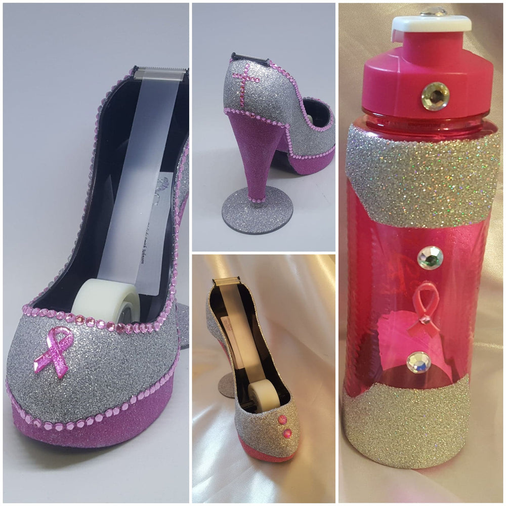 Pink Glitter Rhinestone Stiletto Tape Holder, Set of 1