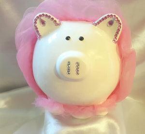 Ceramic Personalized Piggy Bank - Pink Rhinestones/Tulle