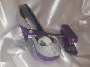 Glitter Rhinestone High Heel Stiletto Tape Holder, Set of 1