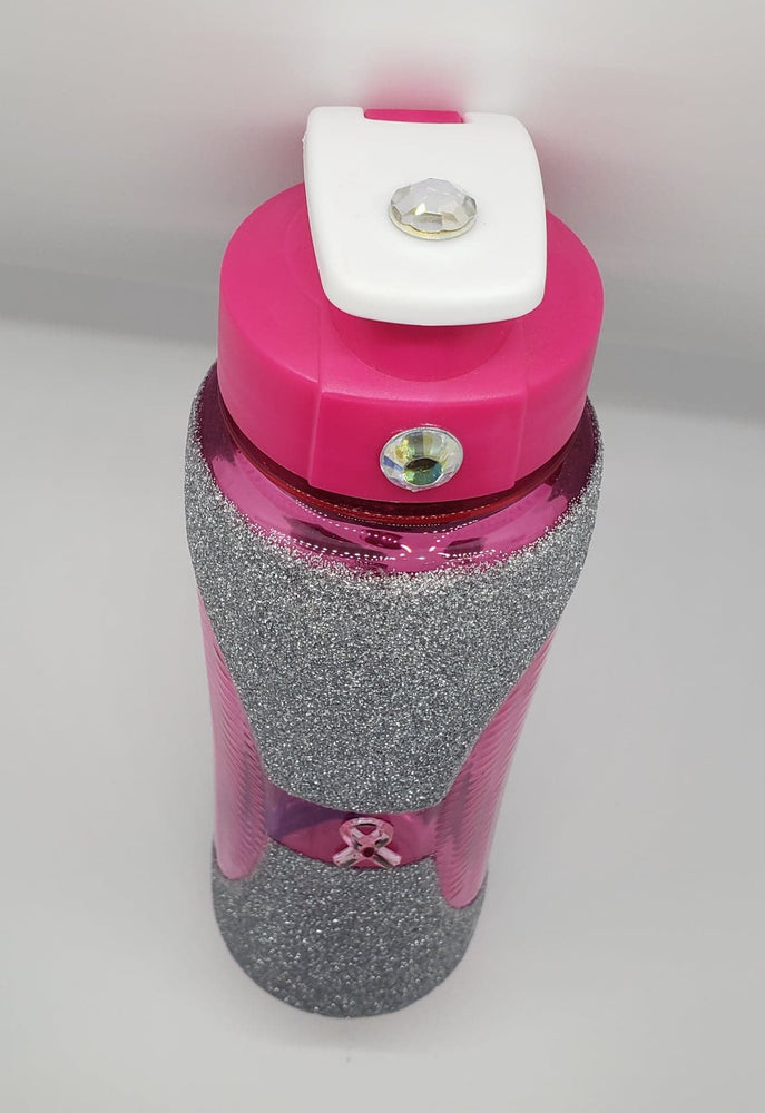 Glitter Water Bottle with Rhinestones, Pink Ribbon
