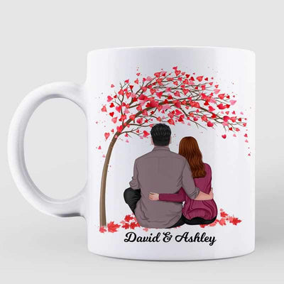 AOP Mugs Couple Under Pink Tree Personalized Mug 11oz