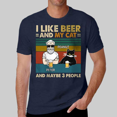 Apparel Retro Cat Beer Maybe 3 People Personalized Shirt