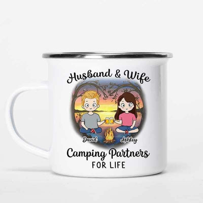 Campfire Mug Camping Partners For Life Chibi Couple Personalized Campfire Mug 12oz