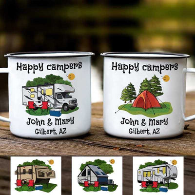 Campfire Mug Happy Campers Campsite Personalized Campfire Mug 12oz