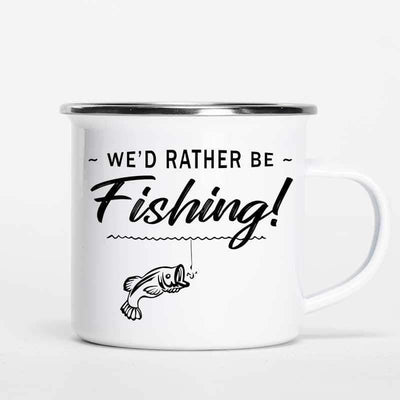 Campfire Mug Rather Be Fishing Stick Figure Personalized Campfire Mug 12oz