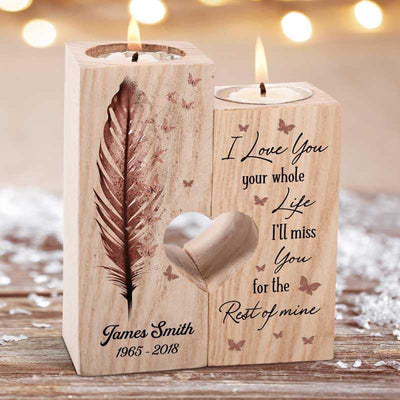 Candle Holder Loved You Butterfly Feather Memorial Personalized Candle Holder Onesize