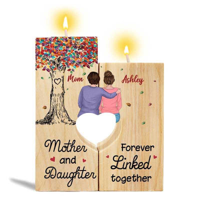 Candle Holder Mother And Daughter Colorful Tree Personalized Candle Holder With Heart Onesize