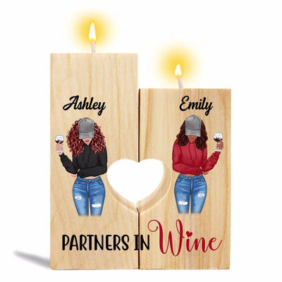 Candle Holder Partners In Wine Modern Besties Front View Personalized Candle Holder Onesize