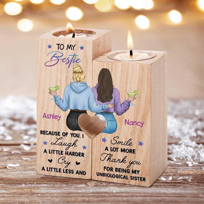 Candle Holder To My Bestie Back View Personalized Candle Holder Onesize