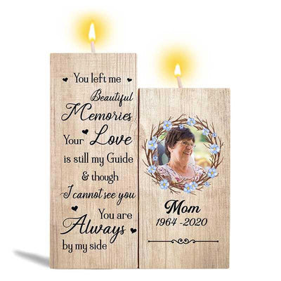 Candle Holder You Left Me Beautiful Memories Photo Memorial Personalized Candle Holder Onesize