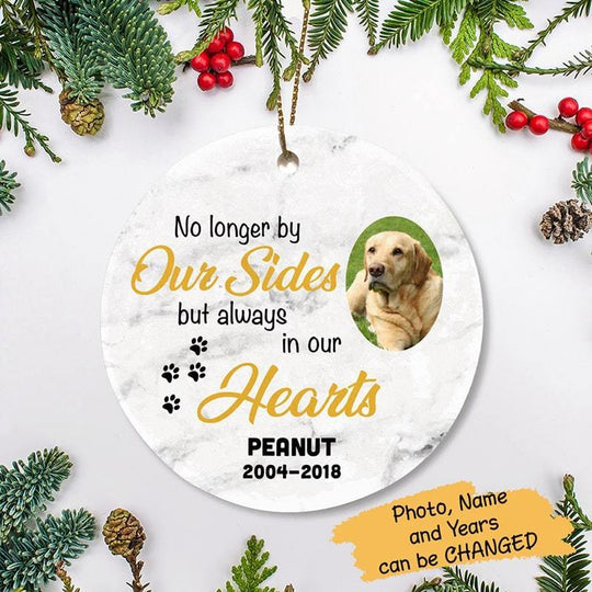 Circle Ornament Always In Our Hearts Pet Memorial Photo - Personalized Circle Ornament One Size / White