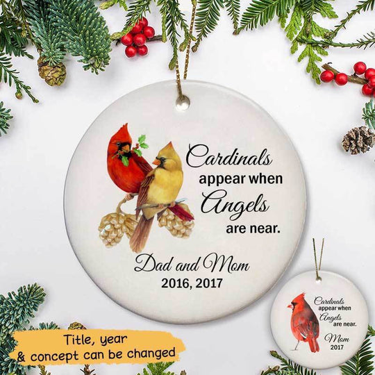 Circle Ornament Cardinals Appear Memorial Personalized Circle Ornament One Size / White