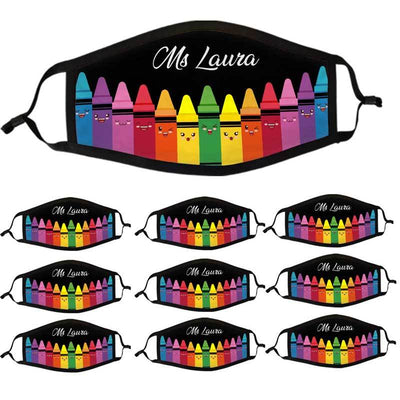 Face Mask Crayon Teacher Personalized Cloth Face Mask Black / Pack 10-EXTRA SAVING