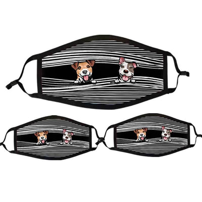 Face Mask Peeking Dog Personalized Cloth Face Mask Black / Pack 3-BEST SELLER