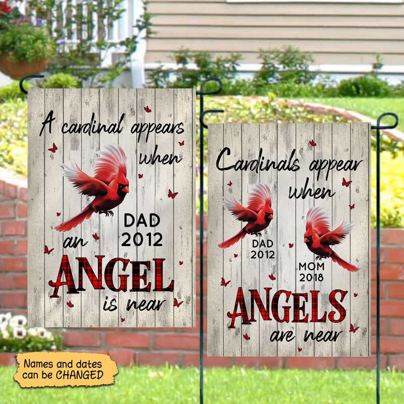 "Garden Flag Angels Among Us Cardinals Memorial Personalized Garden Flag 12""x18"""