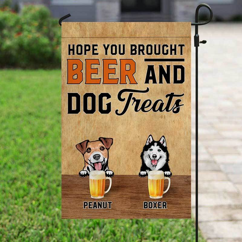 "Garden Flag Bring Beer And Dog Treats Personalized Garden Flag 12""x18"""