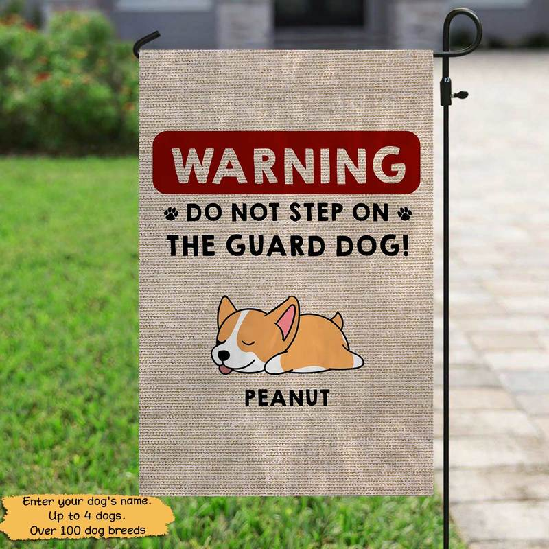 "Garden Flag Do Not Step On Guard Dog Personalized Garden Flag 12""x18"""