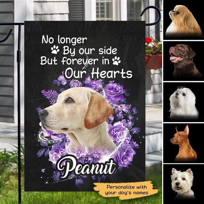 "Garden Flag Dog Forever In Our Hearts Memorial Personalized Garden Flag 12""x18"""