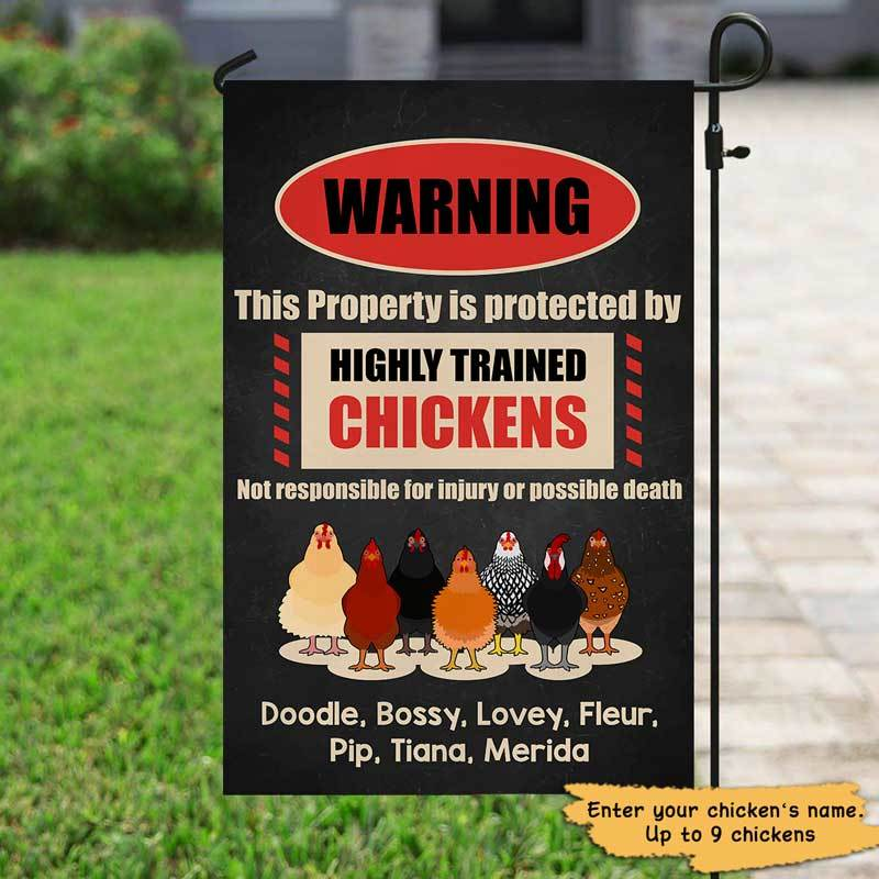 "Garden Flag Property Protected By Chicken Personalized Garden Flag 12""x18"""