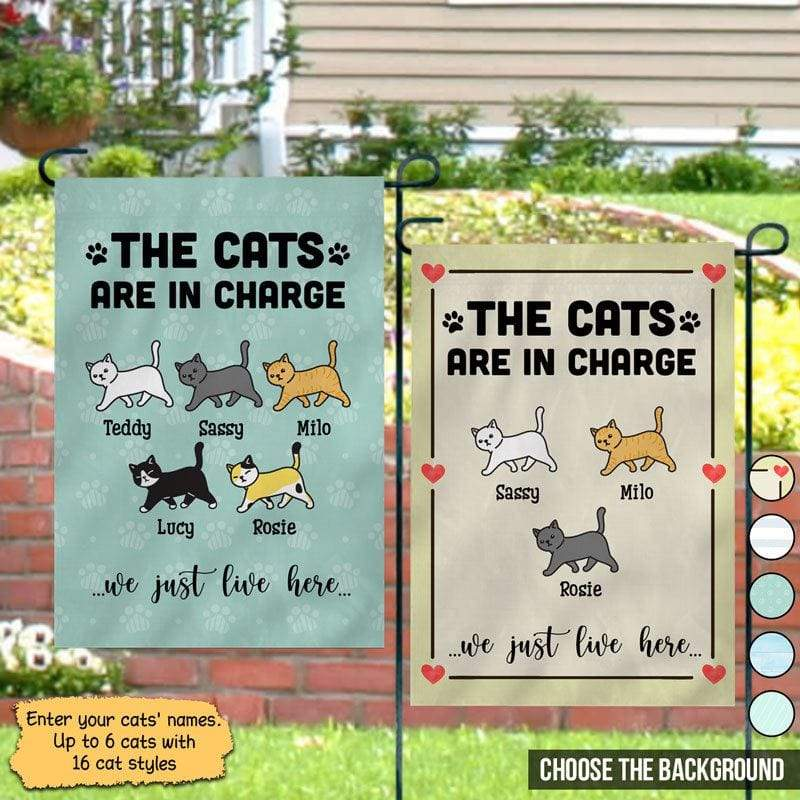"Garden Flag The Cat Is In Charge Personalized Garden Flag 12""x18"""