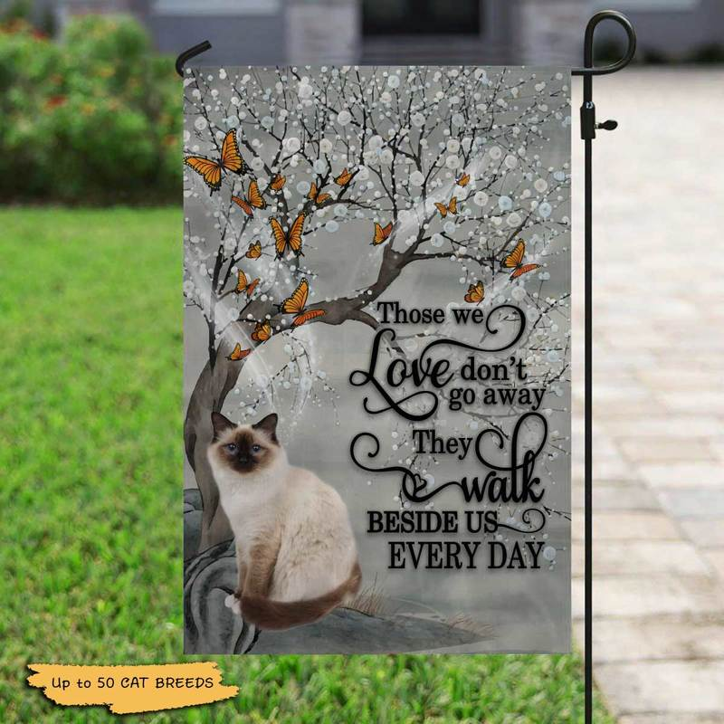 "Garden Flag Those We Love Don't Go Away Cat Memorial Personalized Garden Flag 12""x18"""