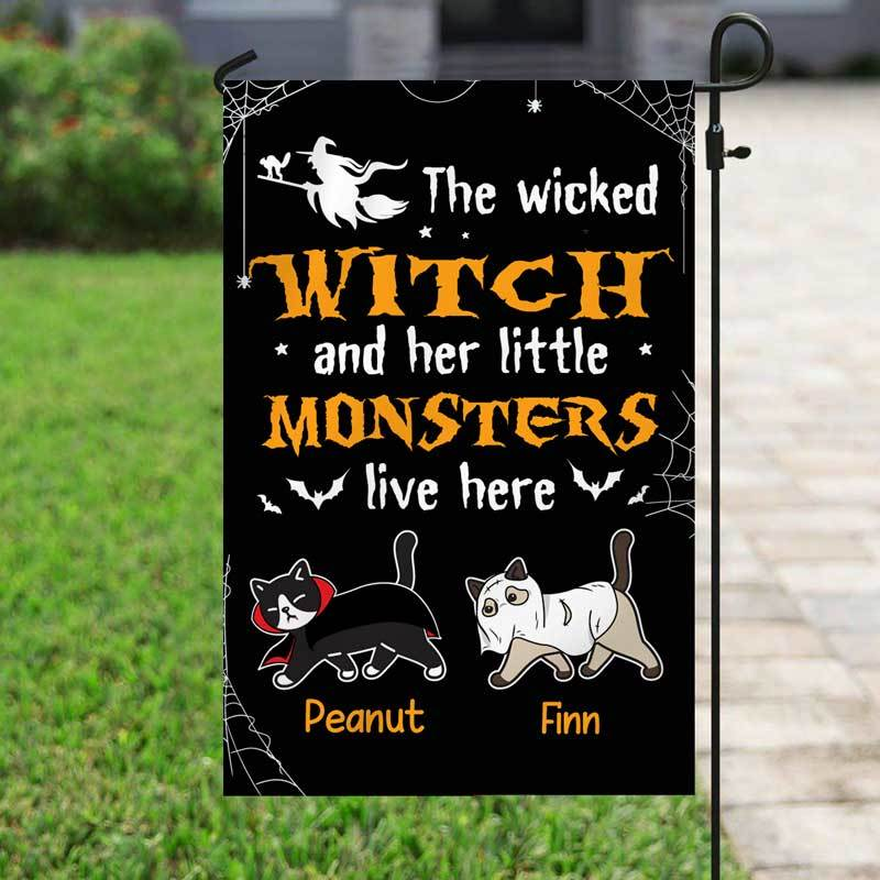 "Garden Flag Wicked Witch And Little Monsters Cat Halloween Personalized Garden Flag 12""x18"""