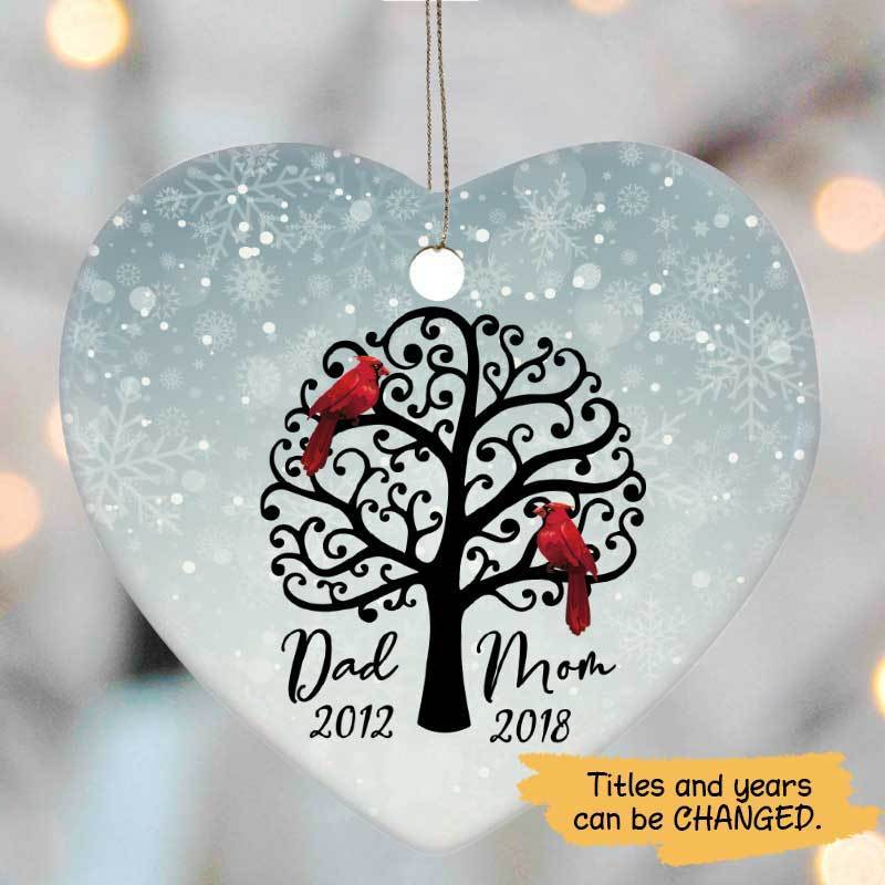 Heart Ornament Dad And Mom Cardinal Personalized Heart Ornament One Size / White