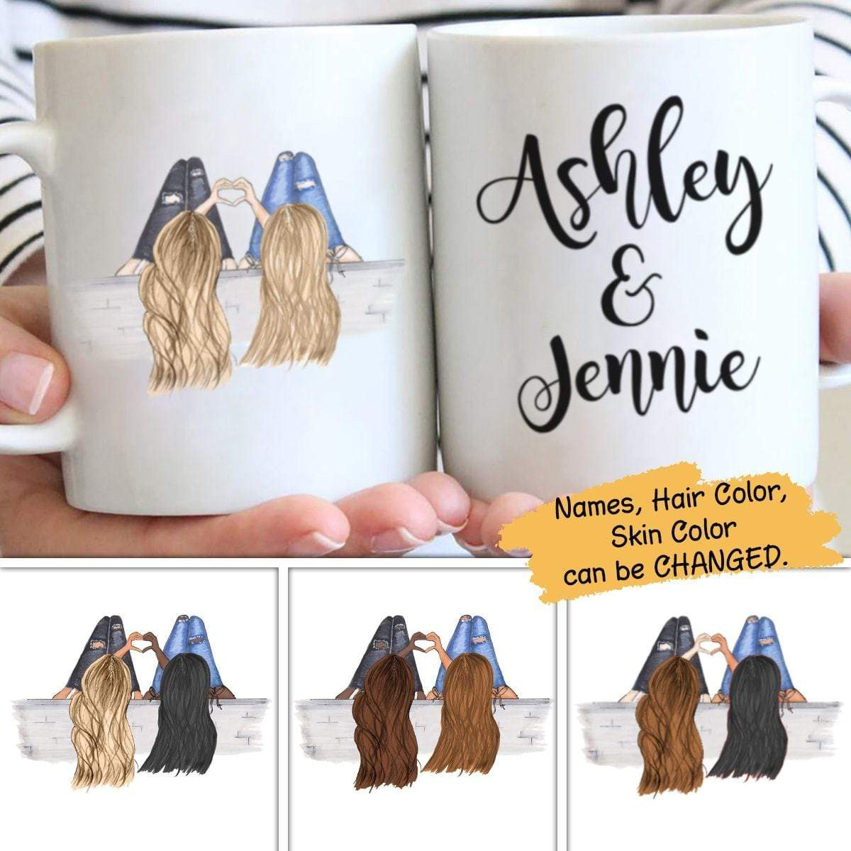 Mugs Family - Best Friends Heart Hands Personalized Mug 15oz