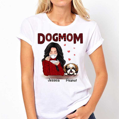 T-shirts Dog Mom Red Patterned Personalized Shirt