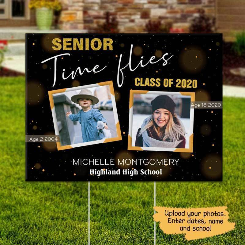 Yard Sign Time Flies Senior 2020 Photo Personalized Yard Sign 1 piece