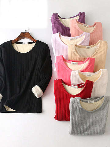Thicken Velvet Super Soft Long Sleeve Warm Blouse & Shirts