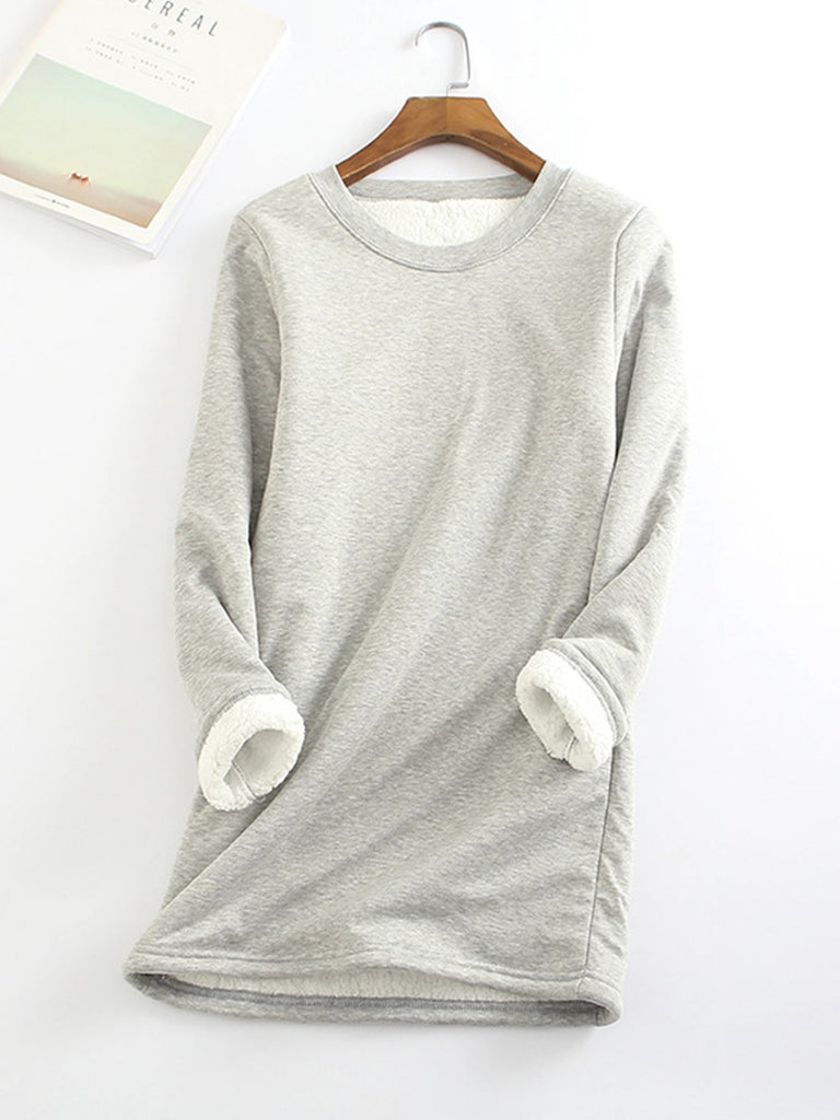 bfb36a02 Casual Fleece-Blend Round Neck Solid Long Sweatshirt – AmourFab