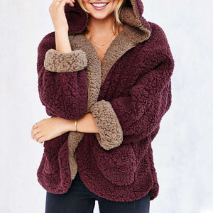 AmourFab Reversible Faux Fur Long Sleeve Hooded Coat & Cardigan