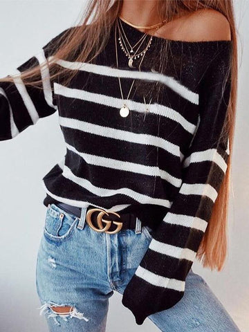 AmourFab One Shoulder Striped Sweaters