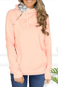 AmourFab Hooded Zipper Patchwork Pink Hoodies