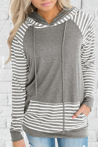 AmourFab Casual Striped Patchwork Hoodies