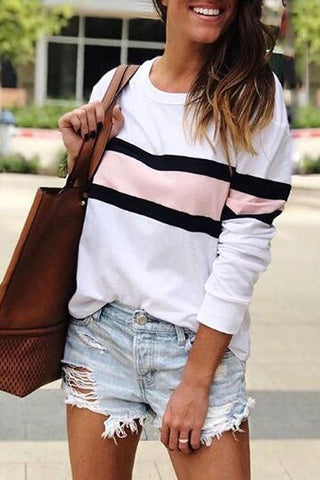 AmourFab Material Girl Striped White Hoodies