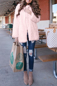 AmourFab Sweet Pink Hooded Long Faux Fur Coat