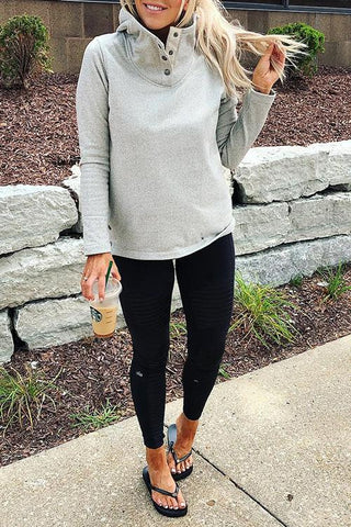 AmourFab Stay Chic Hooded Collar Light Grey Hoodies
