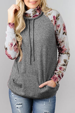 AmourFab Flower Patchwork Grey Hoodies