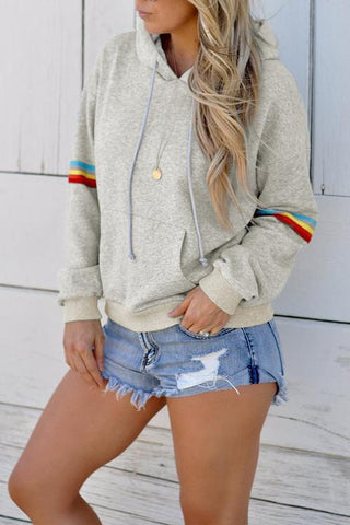 AmourFab Stripe Patchwork Light Grey Hoodies