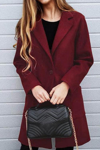 AmourFab Trendy Pockets Design Wine Red Coat