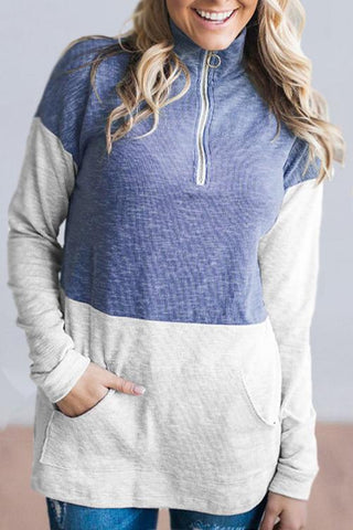 AmourFab Block Patchwork Zipper Hoodies