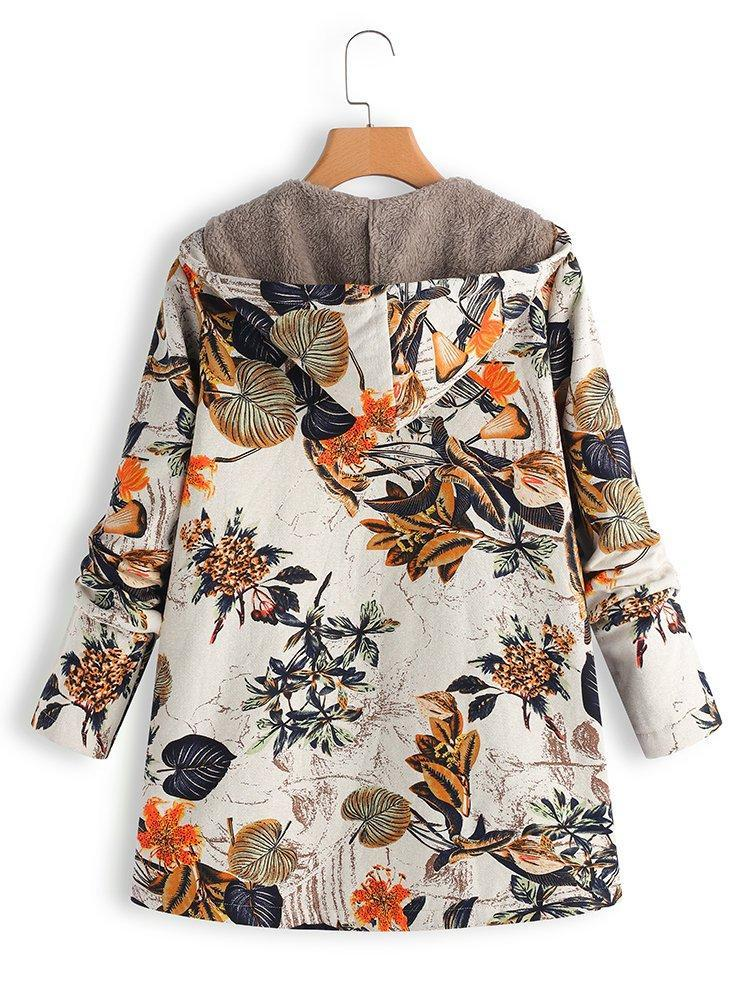 a325f562357 ... Vintage Leaves Floral Print Hoodie Long Sleeve Coat - fashionnana ...