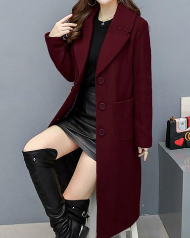 AmourFab Long Sleeve Lapel Buttons Pockets Coats