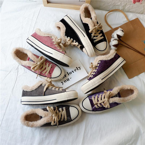 Women Converse Fur Lined Sneakers Lace-up Canvas Shoes