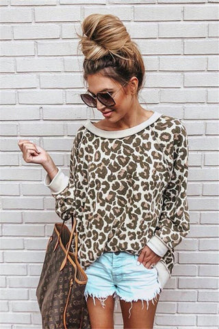 AmourFab Leopard Print Long Sleeve O-Neck Shirt
