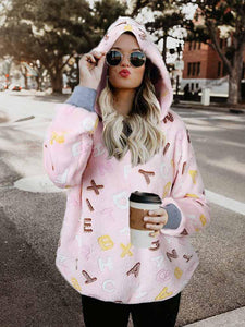 AmourFab Long Sleeve Letter Printed Warm Hoodie