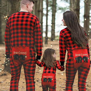 Family Pajamas Plaid Print Christmas Nightwear Cartoon Bear Outfits ... 2005b855d