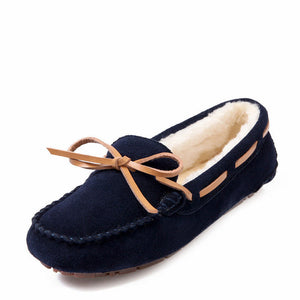 Winter Plush Boat Leather Women Flats Fur Loafer